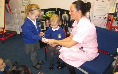 Nurse Wendy visits Reception