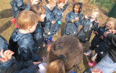 Reception class visit the forest with Rebecca from 'Teaching Trees'.