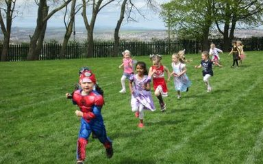 Reception class take part in the Fun Run for Coco